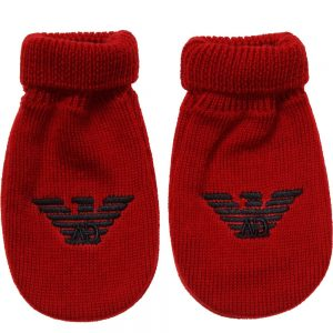 ARMANI BABY Red Knitted Logo Mittens