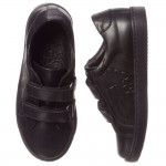 ARMANI JUNIOR Boys Black Leather Velcro Trainers 1