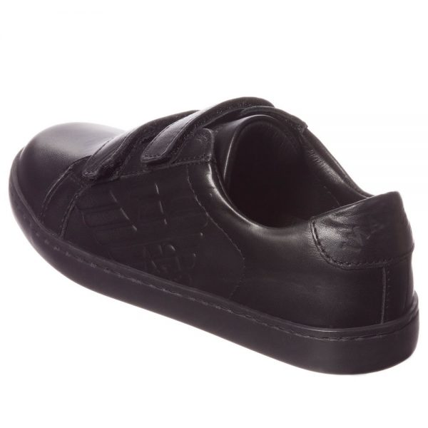 ARMANI JUNIOR Boys Black Leather Velcro Trainers 2