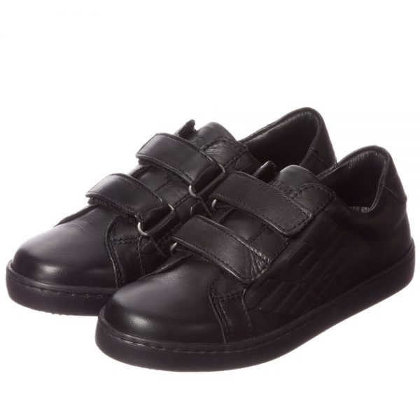 ARMANI JUNIOR Boys Black Leather Velcro Trainers