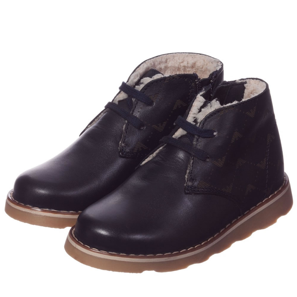 d1b51f1946bd ARMANI JUNIOR Boys Navy Blue Leather Fur Lined Ankle Boots ...