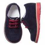 ARMANI JUNIOR Boys Navy Blue Suede Leather Shoes 1
