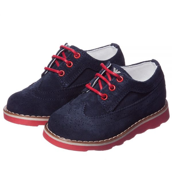ARMANI JUNIOR Boys Navy Blue Suede Leather Shoes
