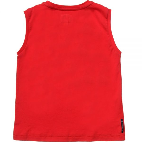 ARMANI JUNIOR Boys Red 'AJ' Sleeveless Top 1