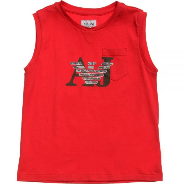 ARMANI-JUNIOR-Boys-Red-AJ-Sleeveless-Top
