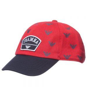 ARMANI JUNIOR Boys Red Cotton Twill Logo Cap