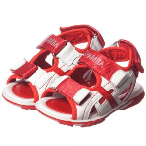 ARMANI JUNIOR Boys Red Leather Sandals with Velcro Straps