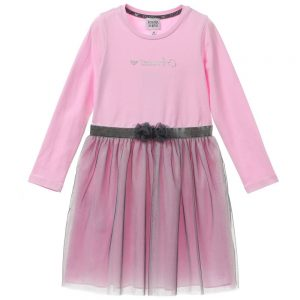 ARMANI JUNIOR Girl Pink Dress With Tulle
