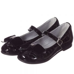 ARMANI JUNIOR Girls Black Patent Shoes with Bows