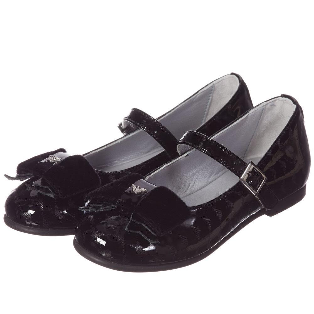ARMANI JUNIOR Girls Black Patent Shoes