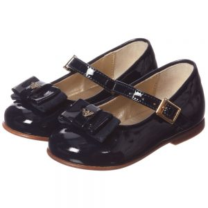 ARMANI JUNIOR Girls Navy Blue Patent Shoes with Bow