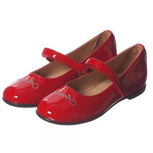 ARMANI JUNIOR Girls Red Patent Velcro Bar Shoes