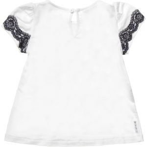 ARMANI JUNIOR Girls White T-Shirt with Black Lace 1