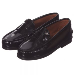 ARMANI TEEN Boys Black Shiny Leather Loafers