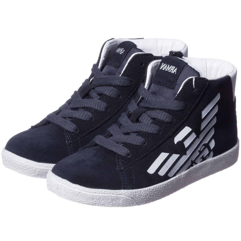 Armani Teen Boys Blue Suede Leather High Top Trainers