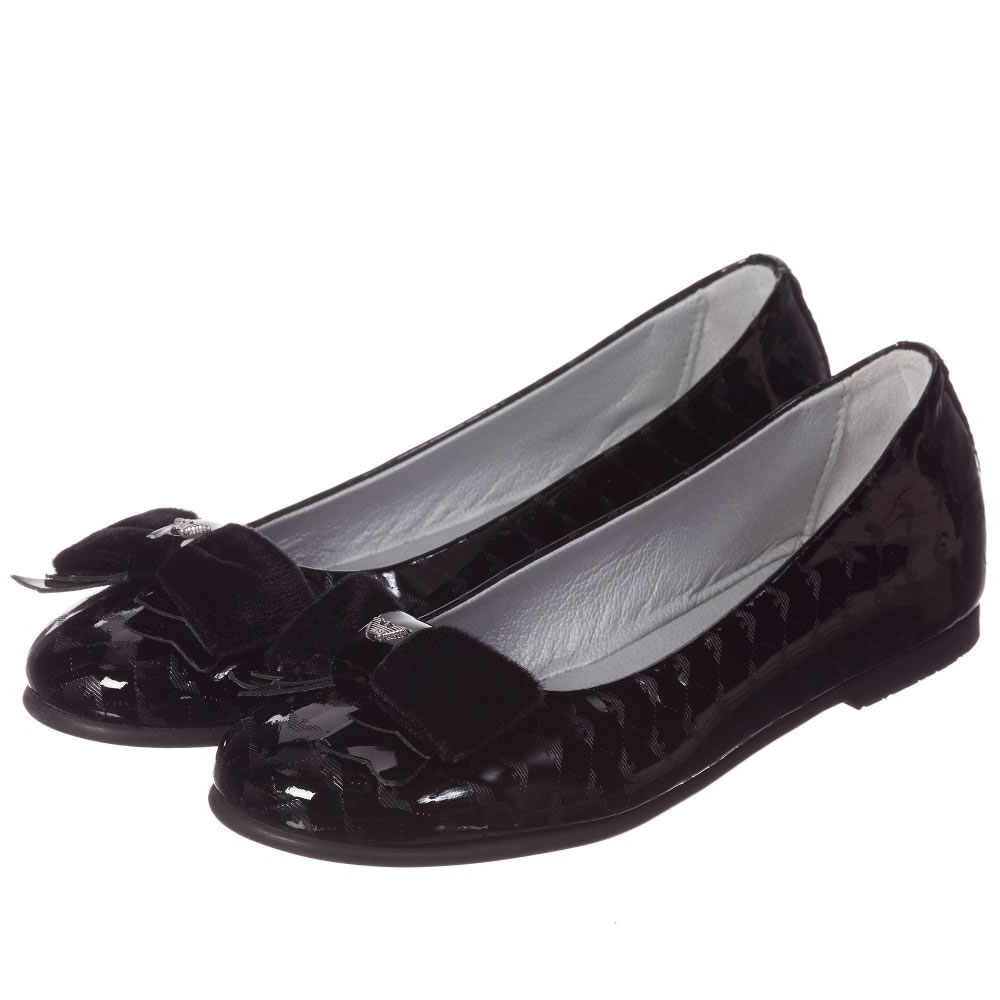 368530aa734 ARMANI TEEN Girls Black Patent Pumps With Velvet Bow - Children Boutique