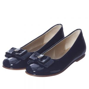 ARMANI TEEN Girls Navy Blue Patent Leather Shoes