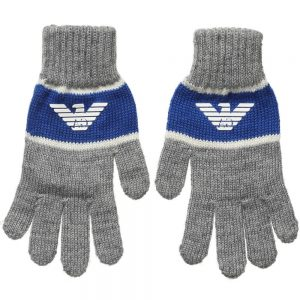ARMANI TEEN Grey Knitted Gloves