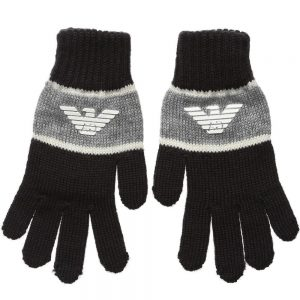 ARMANI TEEN Navy Blue Knitted Gloves