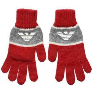 ARMANI TEEN Red Knitted Gloves