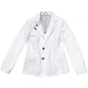 ARMANI TEEN Teen Boys White Cotton and Linen Blazer