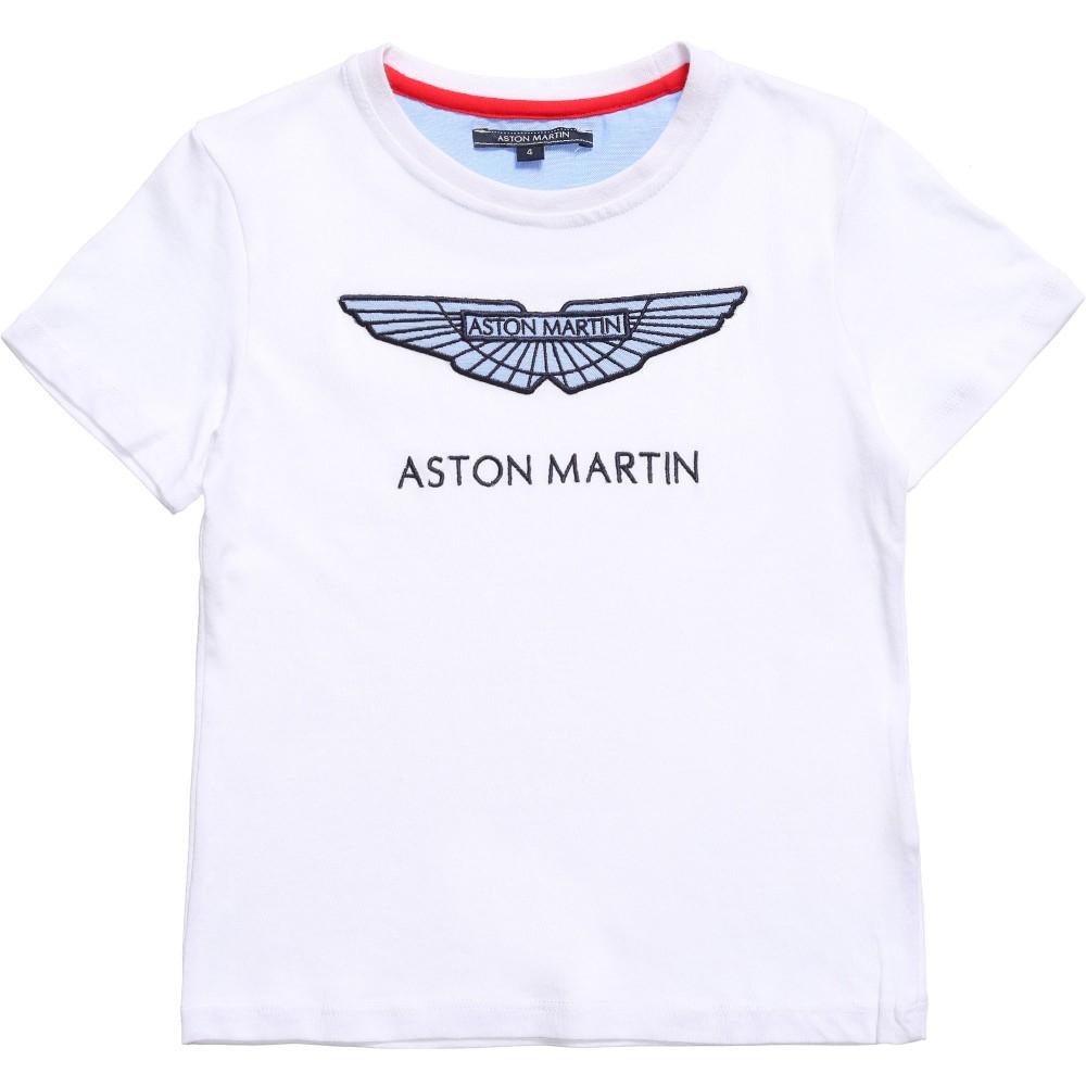Aston Martin Boy White Embroidered Logo T Shirt Children Boutique