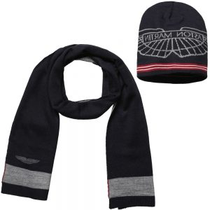ASTON MARTIN Navy Blue Hat & Scarf Set (170 cm)