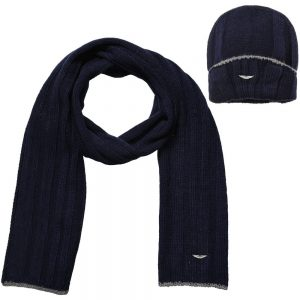 ASTON MARTIN Navy Blue Hat & Scarf Set