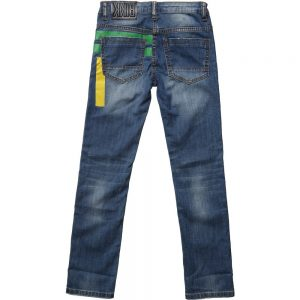 BIKKEMBERGS Boys Blue Jeans with Green Turn-Ups 1