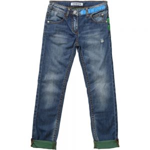 BIKKEMBERGS Boys Blue Jeans with Green Turn-Ups