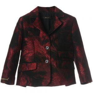 BILLIONAIRE Boys Black & Red Brocade Blazer Jacket