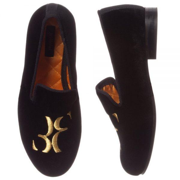 BILLIONAIRE Boys Black Velvet Loafers 1