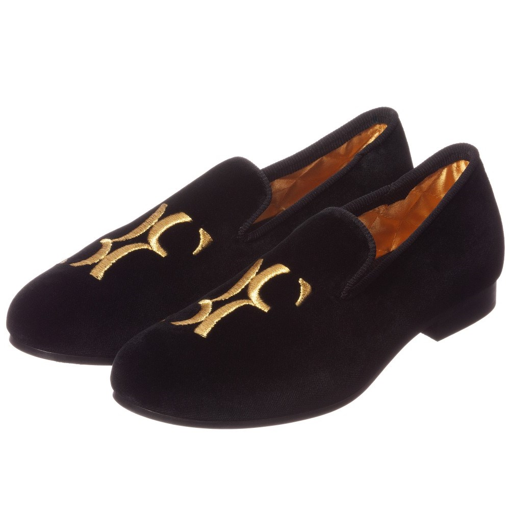 ae7fdf2add8 BILLIONAIRE Boys Black Velvet Loafers - Children Boutique