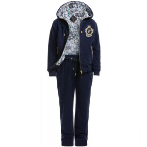 BILLIONAIRE Boys Navy Blue Cotton Tracksuit