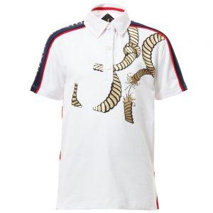 BILLIONAIRE White & Red Striped Cotton Polo Shirt
