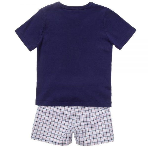 BOSS Boys Navy Blue & Check Pyjamas in a Gift Box 1