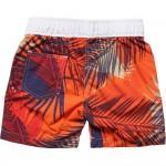 BOSS Boys Orange Tropical Palm Print Swim Shorts 1