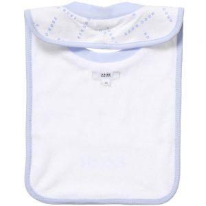 BOSS Boys White Cotton Jersey Logo Bib 1
