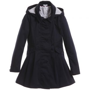 BOSS Girls Navy Blue Hooded Trench Coat