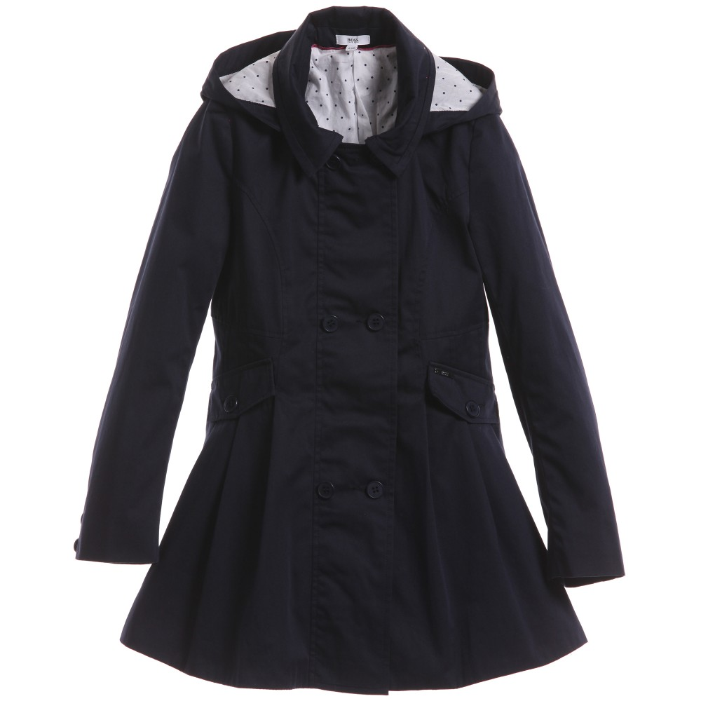 Boss Girls Navy Blue Hooded Trench Coat Children Boutique