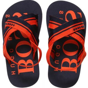BOSS Unisex Baby Navy Blue & Orange Sandals