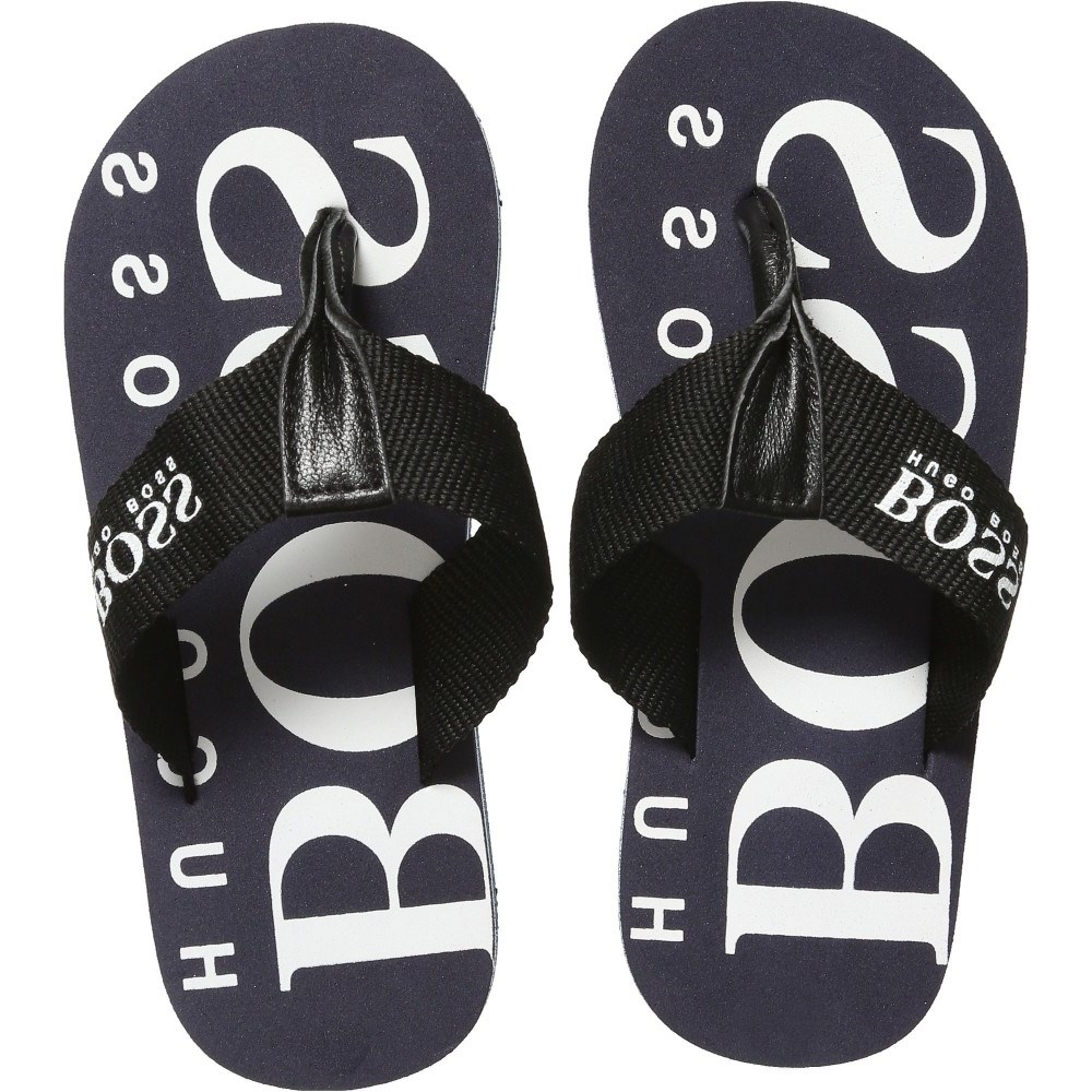 e844e16f451c3 BOSS Unisex Navy Blue Logo Flip-Flops - Children Boutique
