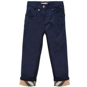 BURBERRY Baby Boys Navy Blue Trousers with Check