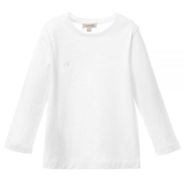 BURBERRY Boys White T-Shirt with Check Elbow Patches 1