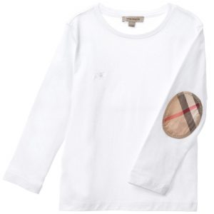 BURBERRY Boys White T-Shirt with Check Elbow Patches