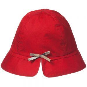 BURBERRY Girls Red Cotton Sun Hat 1