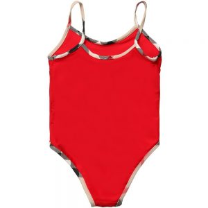 BURBERRY Girls Red Swimsuit with Check Trims 1