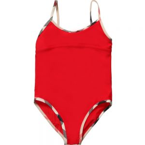 BURBERRY Girls Red Swimsuit with Check Trims