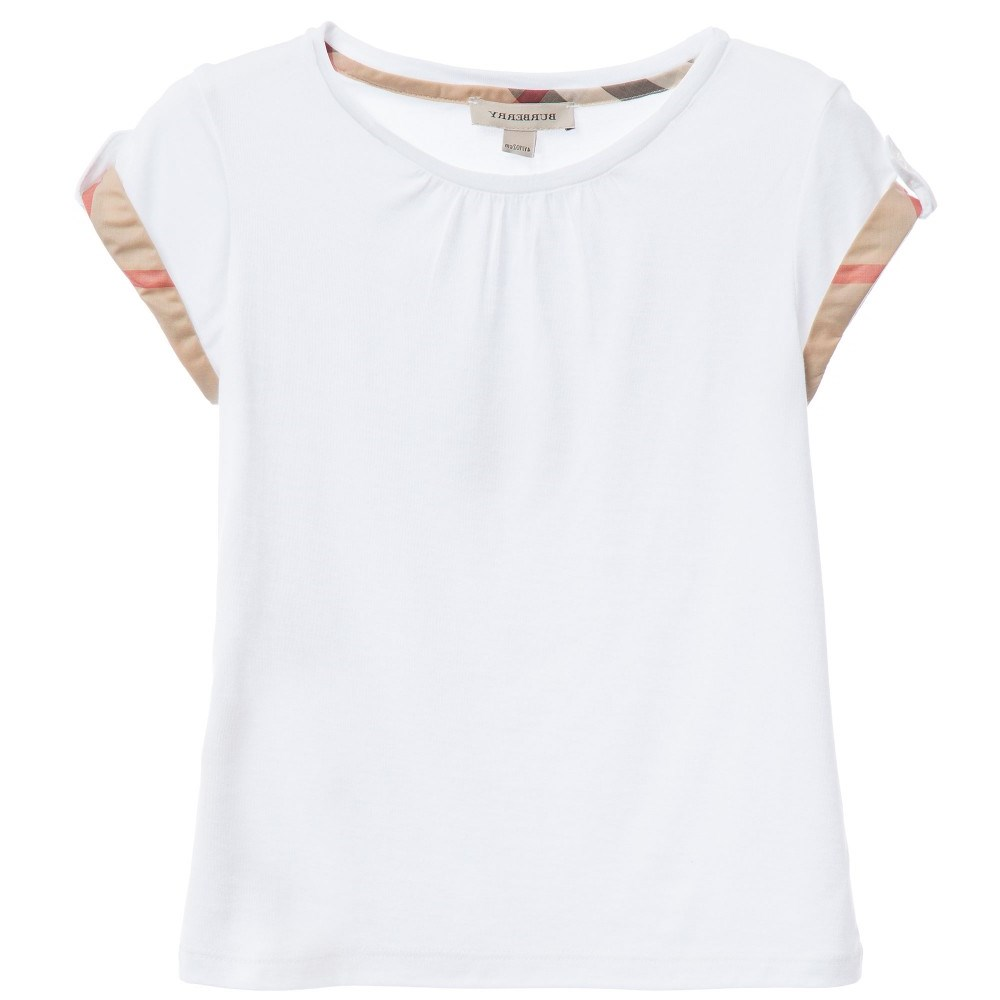 2dfdee204b07bf BURBERRY Girls White T-Shirt with Check Trim - Children Boutique