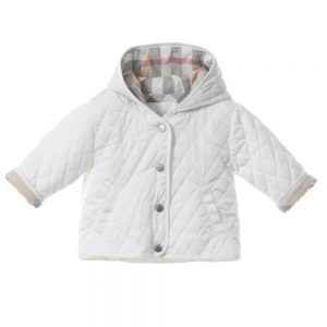 BURBERRY Unisex Babys White Quilted Jacket